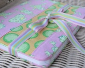 Happy Frogs Fabric Journal Cover - pink and yellow