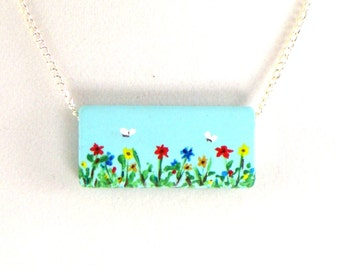 Wildflowers and Butterflies Necklace, Wildflower Garden, Hand Painted