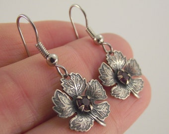 Antiqued Silver Maple Leaf Earrings with Garnet Swarovski Crystals, Silver Earrings, Swarovski Earrings