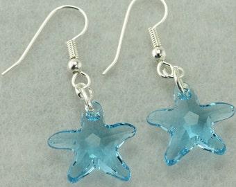 Swarovski Crystal Aquamarine Starfish Earrings