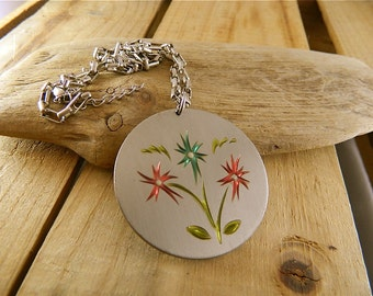 Vintage Pewter Necklace, Heritage Solid Brightly Colored Pewter Wildflower Disk Pendant, Enameled Flowers, Free Chain: Spring Flowers