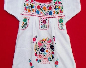 Mexican White Dress 2 Years Very Fine Embroidered Handmade Collection Spring / Summer