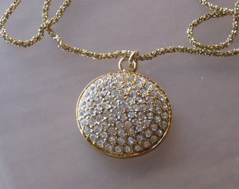Gold pave Crystal medallion Diamond cut Necklace