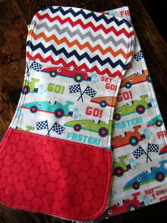 Set of 2 burp cloths race car theme designer fabric baby boy for Baby themed fabric