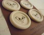 Wooden Buttons - Stamped Bird Collection - 35mm