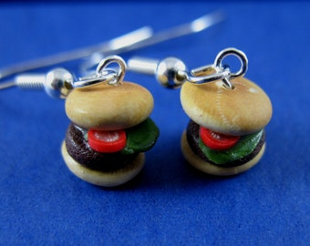 Miniature Food Jewelry Burger Dangle Earrings made from Fimo