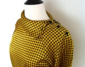 1980s Black and Yellow Houndstooth Blouse (size L)