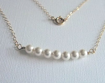 Row of Pearls Necklace, Bridesmaid jewelry, Gold Filled Necklace