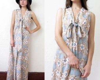 Vintage EARTH TONE FLORAL Maxi Dress with Neck Sash L