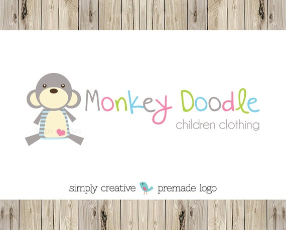 "Premade Logo - Custom Premade Logo - Photography Logo - Monkey Logo - Boutique Logo ""Monkey Doodle Design"""