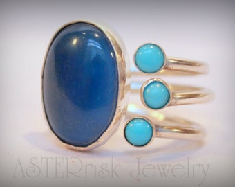 Ring - Blue Agate Turquoise Sterling Silver