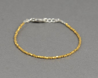 Tiny sterling silver vermeil gold beads  bracelet