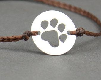 Sterling silver paw print bracelet