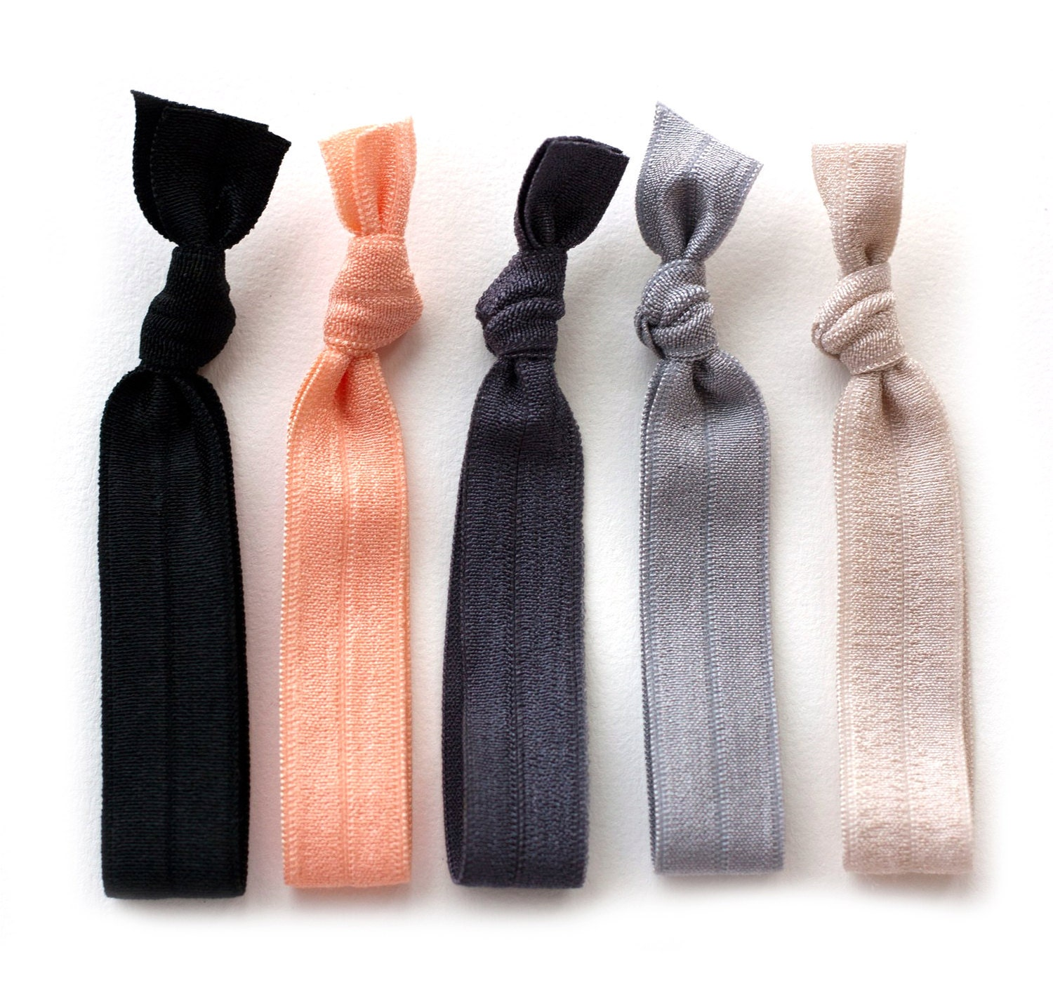 The Silk Hair Tie Package 5 Elastic Solid Color by ManeMessage