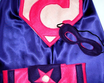 Children's Custom Superhero Personalized Kids Cape Including Matching Mask and the Belt