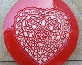 Round Red Heart Plate