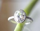 White Topaz Sterling Silver Ring / Gemstone Ring / Milgrain Details In No Nickel / Nickel Free - Made To Order