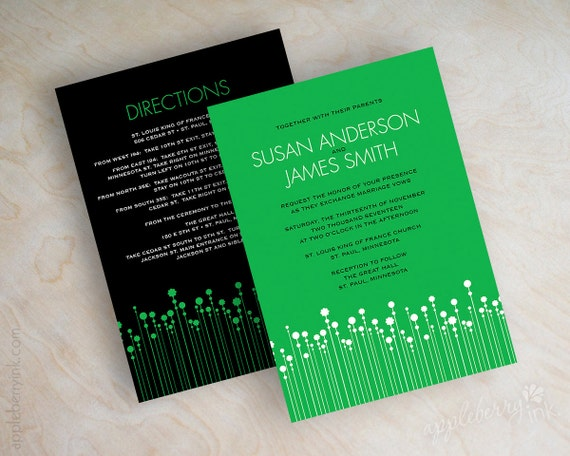 Emerald green wedding invitations, polka dots, polka dot wedding stationery, kelly green invites, grass green, black, Amy