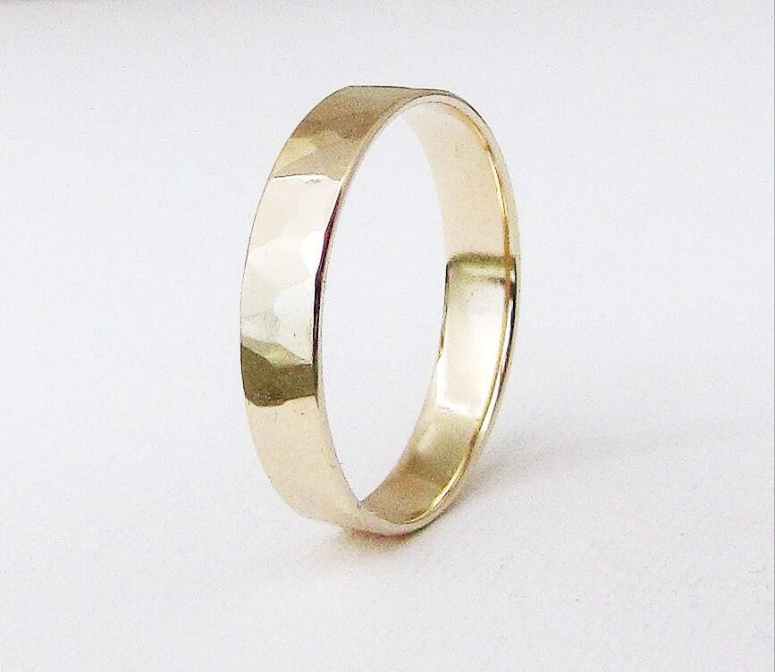 Mens Wedding Band Hammered Gold Wedding Ring 14K Gold Band