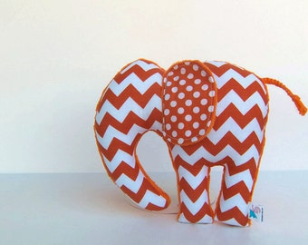 Plush Chevron Elephant  Orange Nursery Decor
