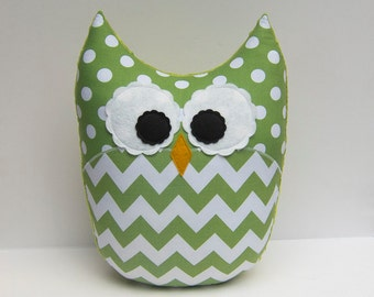 Large Chevron Owl Pillow Minky Green Jade Nursery Decor