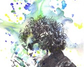 Portrait Painting of Bob Dylan Art Print From an Original Watercolor Painting 8 x 10 in. Print Abstract Bob Dylan Portrait