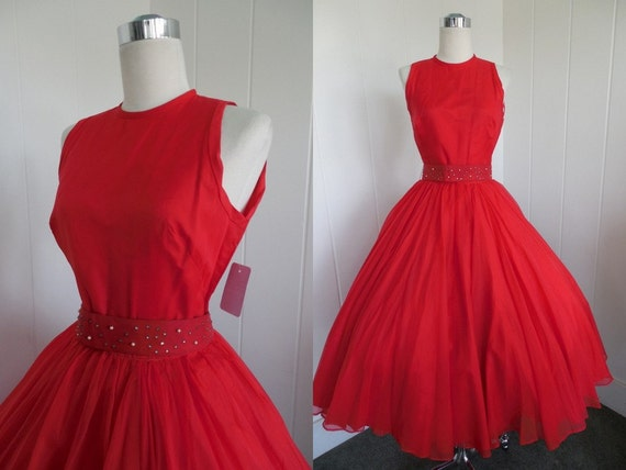 Vintage Red Chiffon Cocktail Dress with Statement Belt