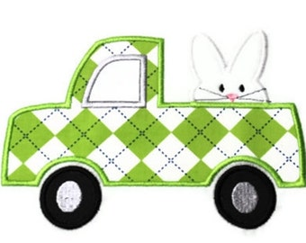 Bunny Truck Machine Embroidery Applique Design