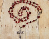 Beaded Rosary with Gunmetal Accents - Ruby Red