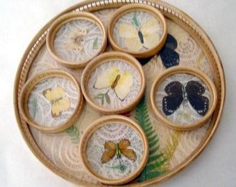 vintage hip rattan and acrylic butterflies and foliage serving tray set with coasters