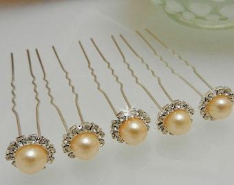 Silver Rhinestone Peach Pearl Hair Pins 5 piece Bobby Pins