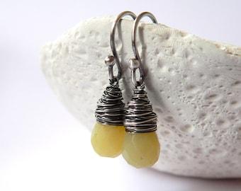 Jade sterling silver earrings, wire wrapped earrings, natural jewelry, dangle earrings