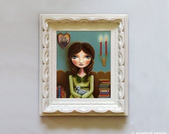 art big eye Girl and Swan print book candle-  8x10 print on Somerset Velvet - The Reading Room by Marisol Spoon