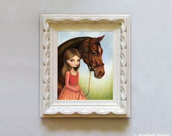 Equestrian horse girl - Scarlett and Blaze print on somerset velvet - equestrian art by Marisol Spoon