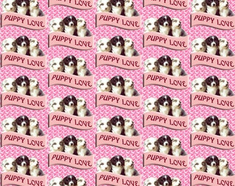 Australian Shepherd Puppy Love fabric