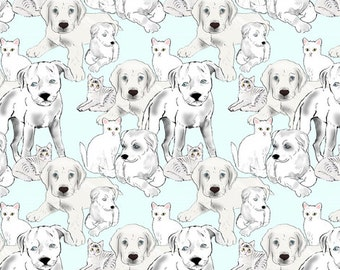 Puppies and kittens fabric