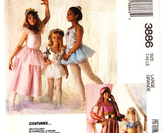 Vintage 1988 McCall's 3886 UNCUT Sewing Pattern Girl's Costume Ballerina, Fortune Teller Size 10-12 (Large)