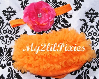 Baby Bloomer Ruffle Bum and Headband Photo Prop Set- Hot pink and Orange great color combo.