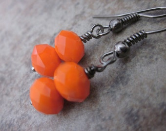 Orange Earrings, Neon, Bright Tangerine Glass, Autumn Colors, Fall Fashion, Gunmetal, Orange & Black, Minimalist Fashion, Simple, For Her