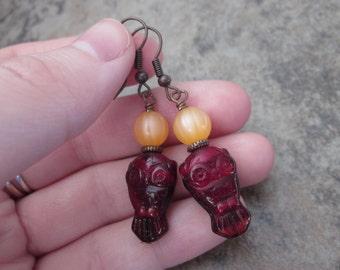 Red Owl Earrings, Czech Glass & Apricot Orange Vintage Moonglow Lucite, Wrapped in Antiqued Copper, Fall Fashion, Bird Drop Earrings, OOAK