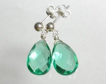 Green Drop Earrings Green Quartz Earring Green Briolette Earring Stud Post Earrings Sterling Silver