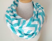 READY TO SHIP - Chevron Infinity Scarf - Jersey Knit - Aqua and White