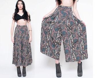 Vintage Bohemian Floral Print Pants