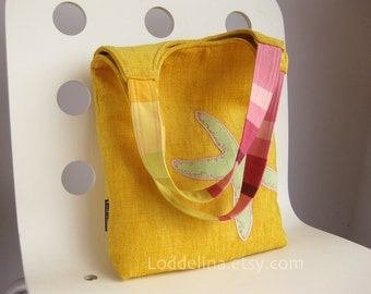 Hobo tote in bright yellow chenille and pink with mint green starfish applique - PUPA