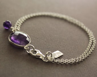 Framed purple amethyst stone with amethyst dangle bracelet and sterling silver - Bridesmaid bracelet  - Stone bracelet