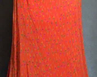 Beautiful Long Straight Maxi Skirt Size 10 Orange with Flowers Lined