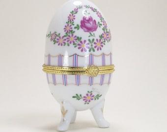 Egg Purple Porcelain Trinket Box Daisies Pink Roses Ring Vintage
