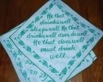 IRISH PUB NAPKINS - Set of Four - Bar Napkins - Words to live by :) - St. Patricks Day