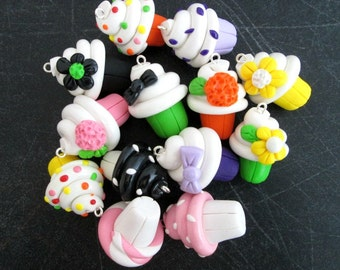 Polymer Clay Cupcake Charms, Set of 3 Charms