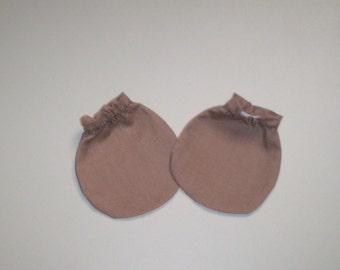 ON SALE  Tan Light Brown Baby Mitts